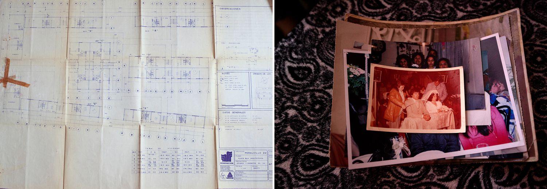 A la izquierda, los planos de Peralvillo, 22. A la derecha, fotos de Chari y Luis.