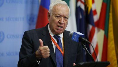 El ministro de Asuntos Exteriores, José Manuel García-Margallo, en la ONU este jueves.