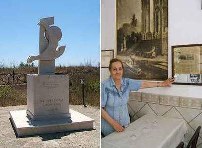 Monumento de Pasolini en Lido de Ostia (izquierda),  y la dueña de la <i>trattoria</i> donde cenó por última vez el director.