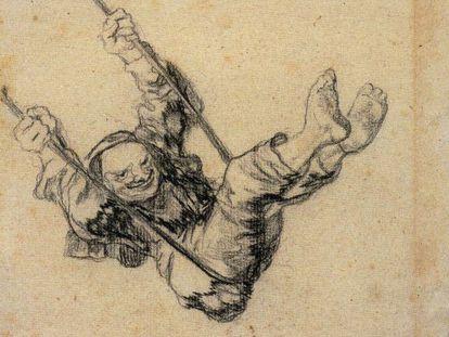 'Viejo en un columpio', dibujo de Goya datado entre 1826 y 1828.