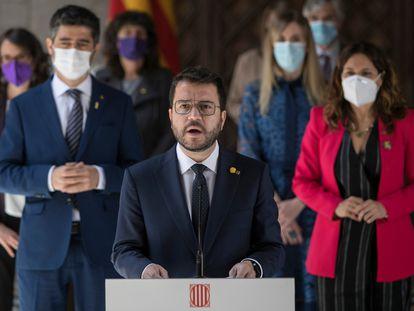El presidente de la Generalitat, Pere Aragonès, en la toma de posesión de los consejeros del nuevo Gobierno catalán este miércoles.