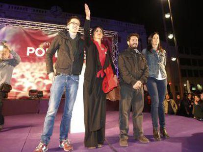 Íñigo Errejón, Teresa Rodríguez y los dirigentes de Podemos en Córdoba David Moscoso y Juana Guerrero.