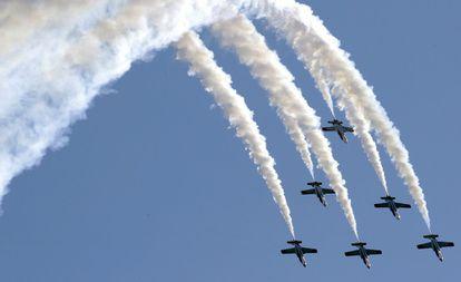 Momento de la exhibición de la Patrulla Águila durante el festival aeronáutico de Belín, en septiembre del año pasado.