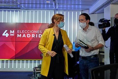 Los candidatos a la presidencia de la Comunidad de Madrid Mónica García, de Más Madrid, y Pablo Iglesias, de Unidas Podemos.