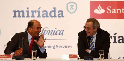 Emilo Botín y César Alierta, en Río de Janeiro