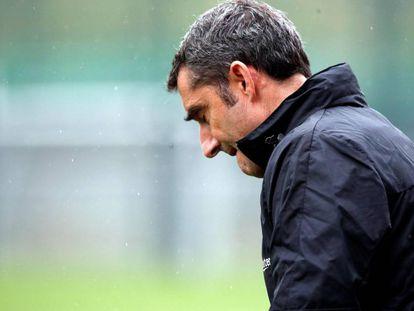 Ernesto Valverde, en el entrenamiento previo a la final de Copa.