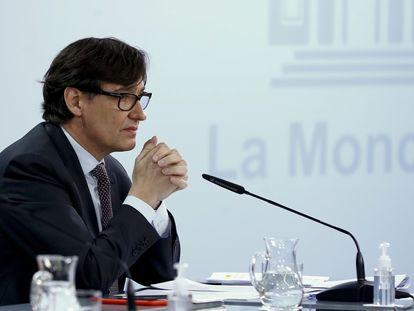 El ministro de Sanidad y candidato del PSC a la presidencia de la Generalitat, Salvador Illa, durante la rueda de prensa posterior a la reunión semanal del Consejo de ministros, este martes en Moncloa.