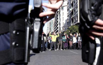 Un momento de las protestas en Valencia.