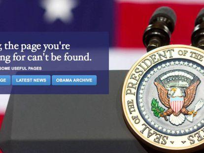 Toma de pantalla del enlace a la web en español de la nueva Casa Blanca.