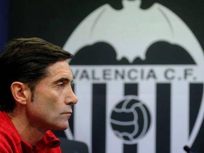 Marcelino, durante la rueda de prensa de este martes en Valencia.