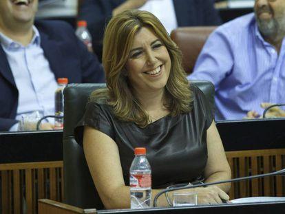 Susana Díaz, durante la sesión de control en el Parlamento este jueves.