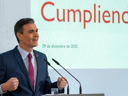 Pedro Sánchez,durante su comparecencia en rueda de prensa para presentar el primer informe de rendición de cuentas del Gobierno de España.