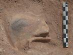 Máscara teatral hallada en el vertedero romano de La Alhambra (Ciudad Real).