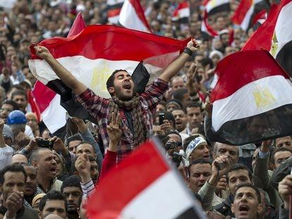 Protesta en la Plaza Tahrir de El Cairo en febrero de 2011.
