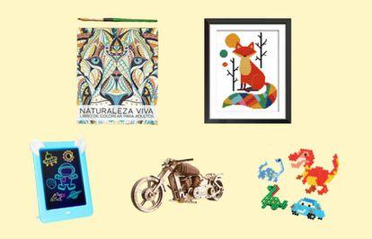 Libros de adultos para colorear, maquetas de madera o figuras de abalorios al agua son algunas de las actividades manuales para realizar en familia.