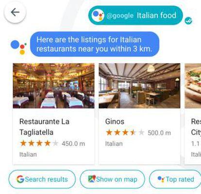 Sugerencias de restaurantes cercanos.
