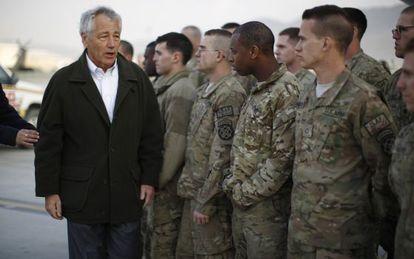 El secretario de Defensa de Estados Unidos, Chuck Hagel, durante una visita reciente a Kabul, Afganistán.