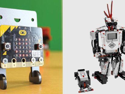A la izquierda de la imagen, una placa de programación de Micro:bit y, a la derecha, el robot Lego Mindstorms.