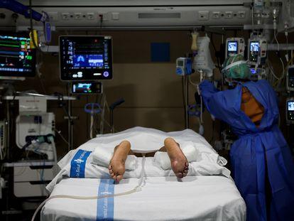 Personal del Servicio de Medicina Intensiva del Hospital del Vall d'Hebron de Barcelona atiende a un paciente.