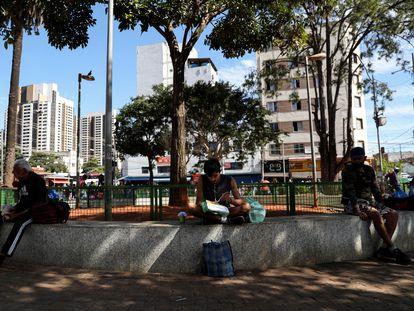 Un hombre que ha perdido su empleo por la crisis del coronavirus, a finales de julio en São Paulo.