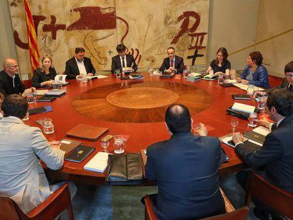 Reunión semanal del Gobierno catalán, este martes.