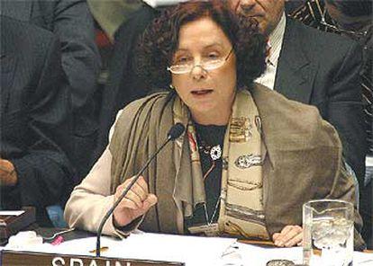 Ana Palacio, el viernes, durante su intervención ante el Consejo de Seguridad.