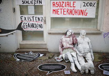 Protesta en Berlín por la gentrificación del barrio de Friedrichshain, en 2019.