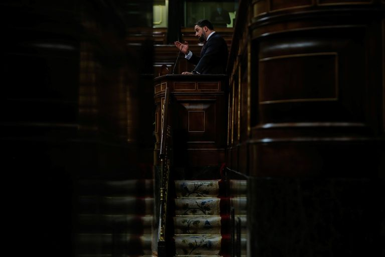 El líder de Vox, Santiago Abascal, este miércoles en el Congreso durante el debate de la moción de censura.
