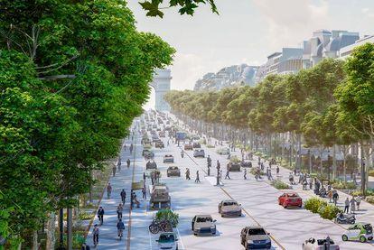 Imagen del proyecto de Philippe Chiambaretta para remodelar los Campos Elíseos, con menos carriles para los coches y más espacio para los peatones y el arbolado.