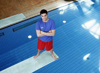 Javier Illana, en el trampolín de la piscina de saltos del Centro Mundial 86 de Madrid.