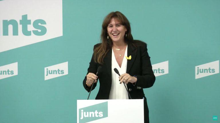 Laura Borràs en rueda de prensa telemática tras ganar las primarias de JxCat a las elecciones catalanas