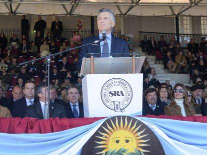 El presidente argentino, Mauricio Macri, en la apertura de la feria de exposición de la Sociedad Rural.