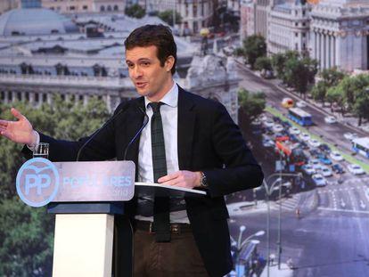 Pablo Casado, en la presentación de los candidatos del PP a la alcaldía de Madrid.
