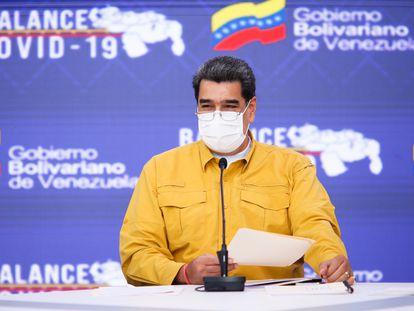 El presidente venezolano, Nicolás Maduro, durante una conferencia de prensa en Caracas (Venezuela).