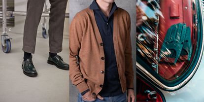 Zapatos Act Series, chaqueta The Sëelk y guantes IWC x Café Leather.