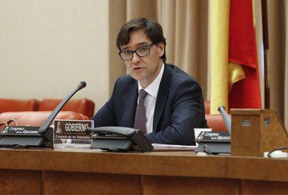 El ministro de Sanidad, Salvador Illa, este jueves en el Congreso.