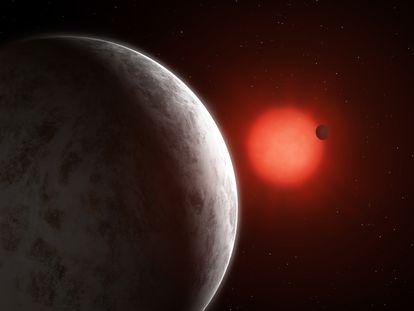 Recreación artística de las dos supertierras orbitando en torno a GJ 887.