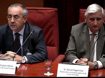 Troyano y Pagès, en la comisión de investigación del Parlament este lunes.