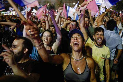Celebración de la investidura del nuevo Gobierno israelí, el domingo en la plaza de Isaac Rabin de Tel Aviv.