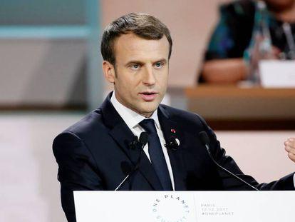 El presidente francés, Emmanuel Macron, durante el One Planet Summit en Paris, el 12 de diciembre de 2017.