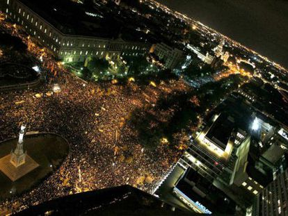 Vista panorámica de la plaza de Colón de Madrid durante la manifestación de la huelga general 14-N.