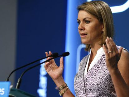 María Dolores De Cospedal, en una intervención ante la prensa.