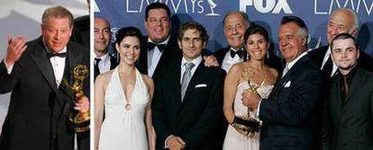 El ex vicepresidente Al Gore, con su premio. A la derecha, parte del equipo de <i>Los Soprano,</i> tras recibir el trofeo.