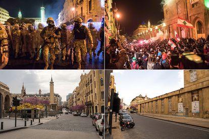 Combo de imágenes de los manifestantes en Beirut, en diciembre. Abajo, el mismo lugar el 26 de marzo.