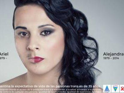 """Fundación Huesped. """"En Argentina la expectativa de vida de una persona trans es de 35 años. La discriminación impide el acceso de la población trans a la educación, a la salud, al trabajo, a la vivienda y a una vida como cualquier otra persona. Igualdad de oportunidades. Igualdad de esperanzas. Igualdad"""". Agencia desconocida."""