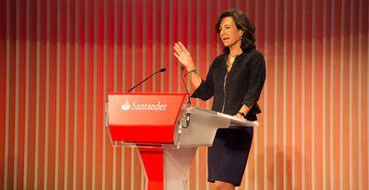 Ana Patricia Botín, durante la conferencia con inversores.