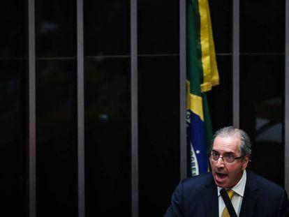 El expresidente de la Cámara Baja de Brasil Eduardo Cunha habla lunes 12 de septiembre de 2016