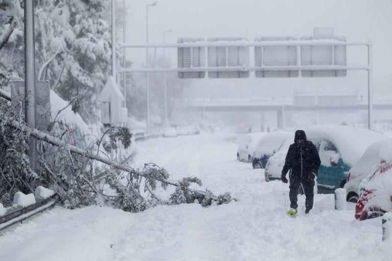Estado de la M-30 durante el paso del temporal 'Filomena', el 9 de enero.