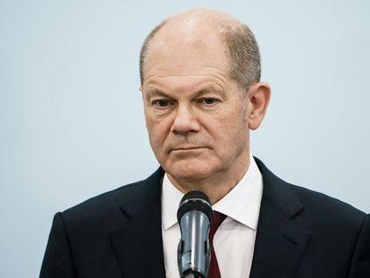 Olaf Scholz, durante una rueda de prensa sobre las conversaciones para formar Gobierno en Alemania, el pasado viernes.