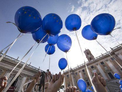 Celebración del Día de Europa en Roma.